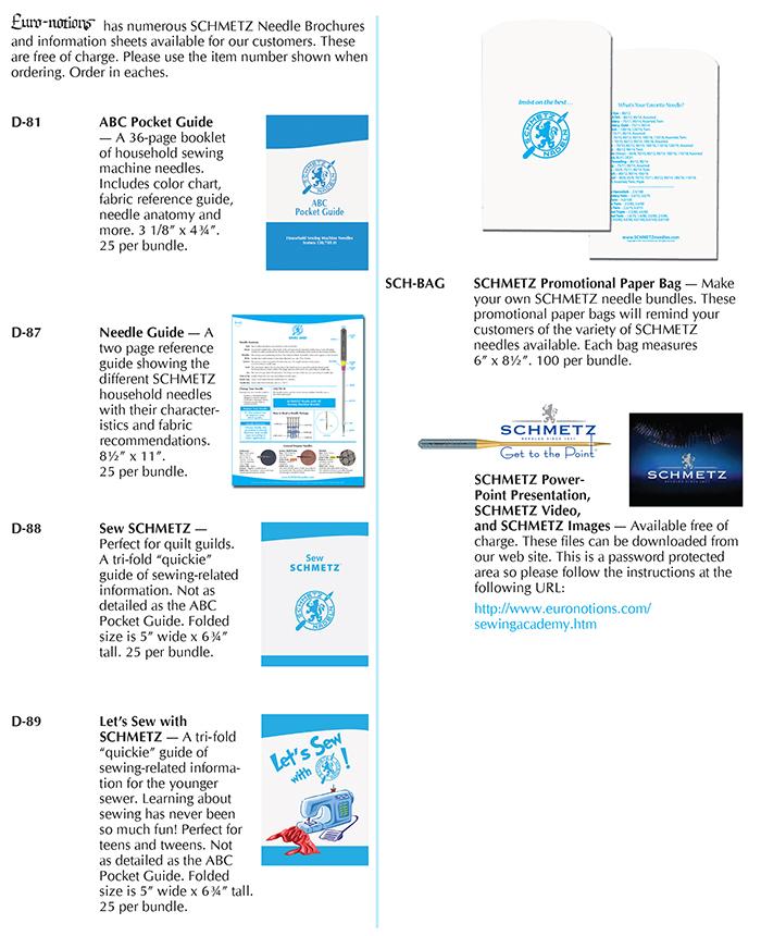 SCHMETZ Promotional Materials