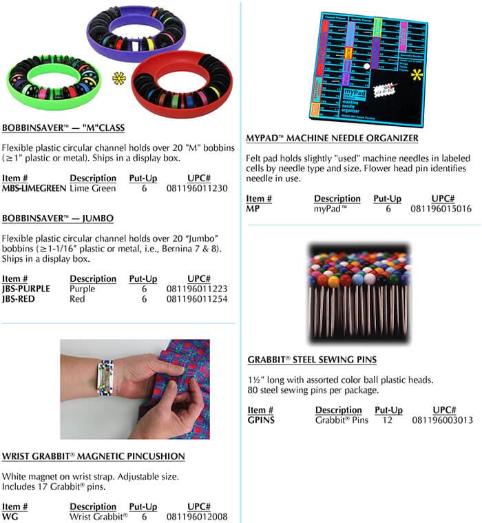 "Class ""M"" BobbinSaver, Grabbit® Pins, myPad, Wrist Grabbit®"