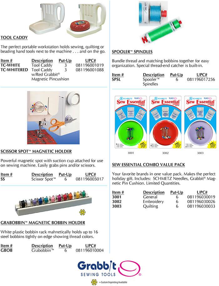 Tool Cadde, Scissor Spot, Grabobbin, Spooler Spindle, Sew Essential Combo Pack